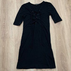 Black Fitted Dress with Lace-Up Ties
